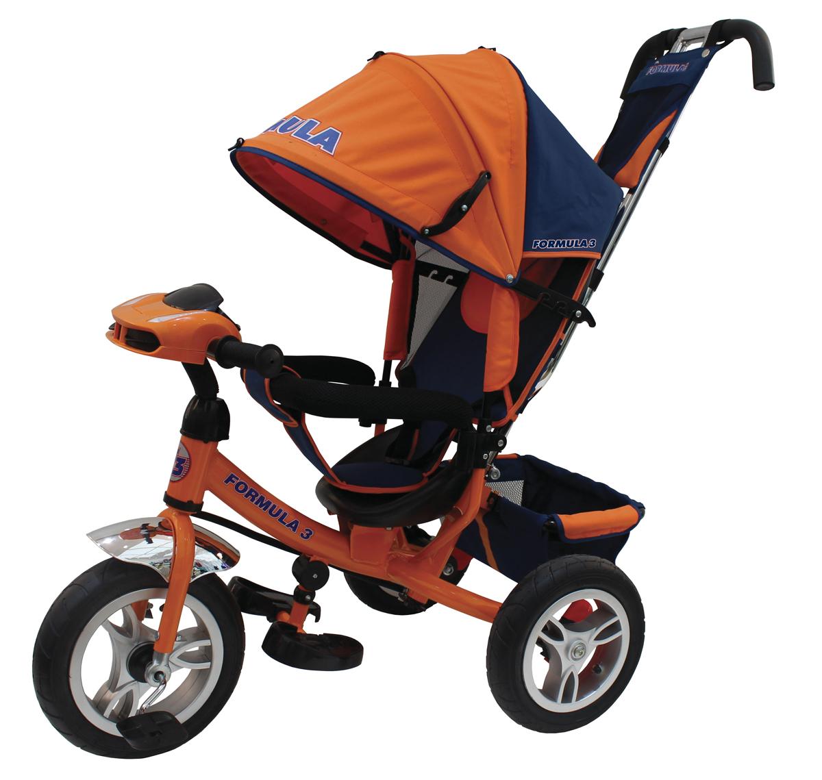 Велосипед 3-х колесный с ручным управлением цвет оранжевый, фара со световыми и звуковыми эффектами холостой ход переднего колеса, тормоз, наклонная спинка, колясочная крыша, сумка, надувные колеса 12