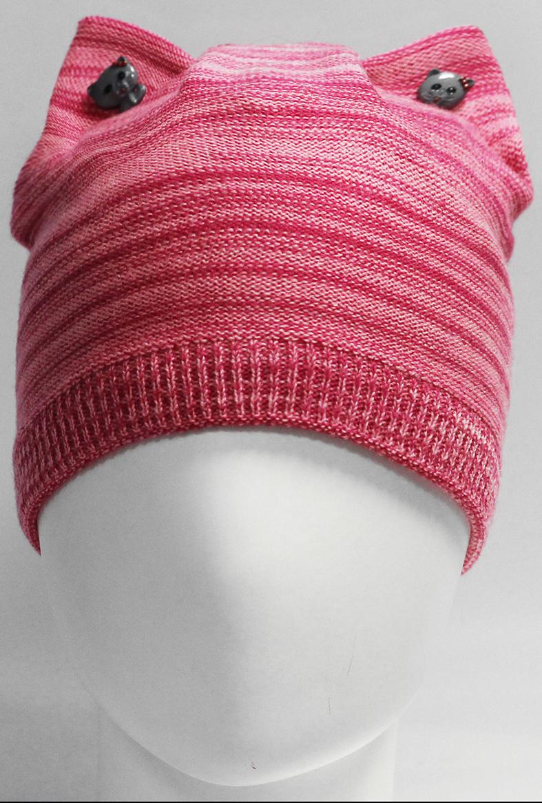 Шапка для девочки Marhatter, цвет: розовый. MGH7439/5. Размер 52/54MGH7439/5Полушерстяная шапка-кошка для девочки на хлопковой подкладке. Ушки украшены декоративными пуговицами.