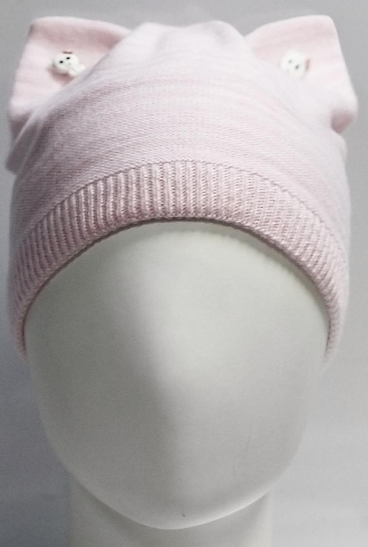 Шапка для девочки Marhatter, цвет: светло-розовый. MGH7439/5. Размер 52/54MGH7439/5Полушерстяная шапка - кошка Marhatter на хлопковой подкладке. Ушки украшены декоративными пуговицами. Уважаемые клиенты!Размер, доступный для заказа, является обхватом головы.
