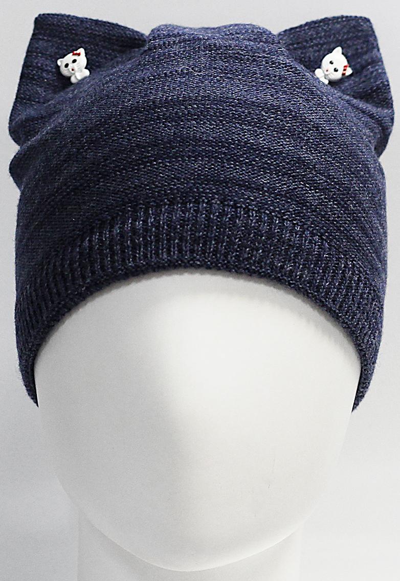 Шапка для девочки Marhatter, цвет: темно-синий. MGH7439/5. Размер 52/54MGH7439/5Полушерстяная шапка-кошка для девочки на хлопковой подкладке. Ушки украшены декоративными пуговицами.
