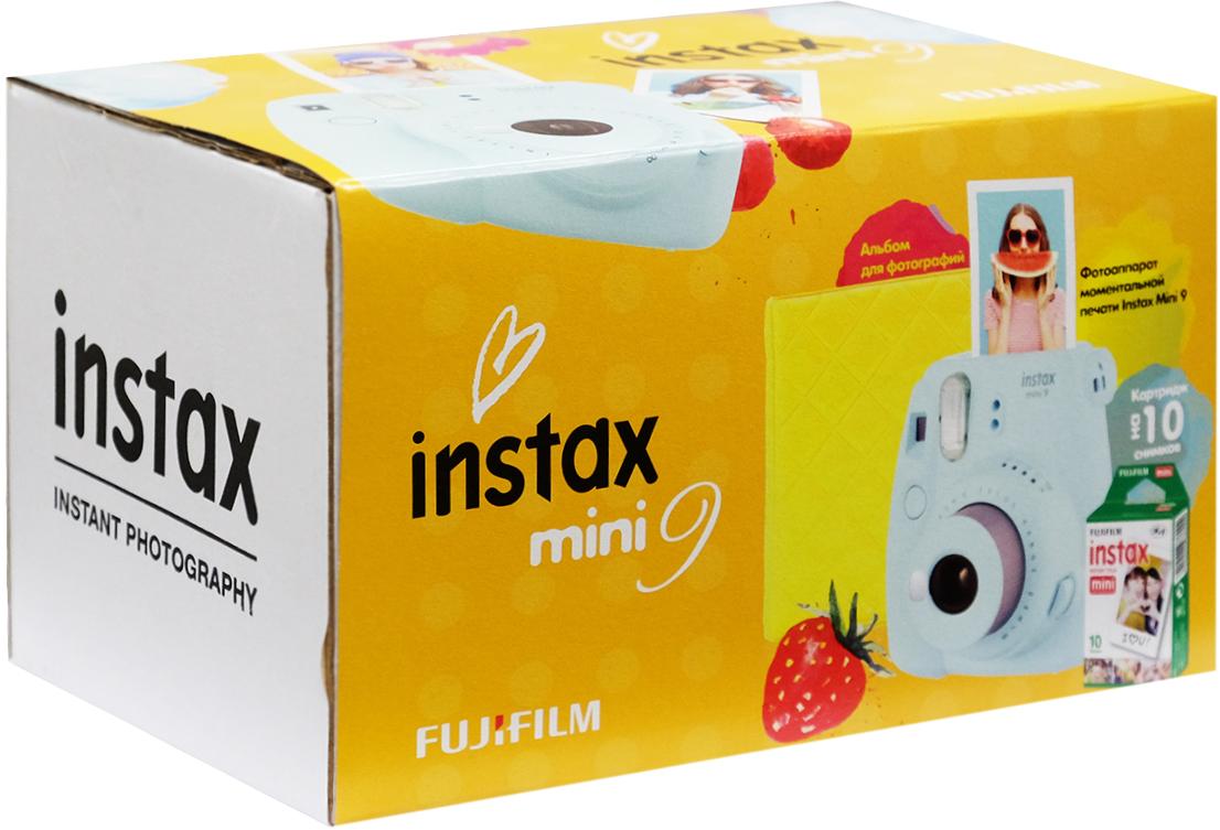 Fujifilm Instax Mini 9, Ice Blue фотокамера мгновенной печати + ColorfilmInstaxMiniGlossy (10/PK) картридж + фотоальбом