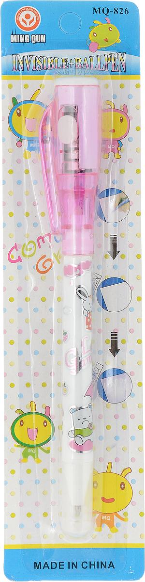 MC-Basir Ручка-шпион c УФ-фонариком с шариковой ручкой цвет розовыйMQ_826_розовыйДвусторонняя ручка с невидимыми чернилами и ультрафиолетовым фонариком. Надпись невидимыми чернилами начинается светиться от света УФ-фонарика! Цветная графика, картинки и надпись на корпусе Love Gumgumy. С одной стороны - синий шариковый стержень под колпачком, с другой стороны под колпачком-фонариком - стержень с невидимыми чернилами. В колпачке - ультрафиолетовый фонарик, работающий от 3 батареек AG3 (в комплекте). Батарейки можно заменять.