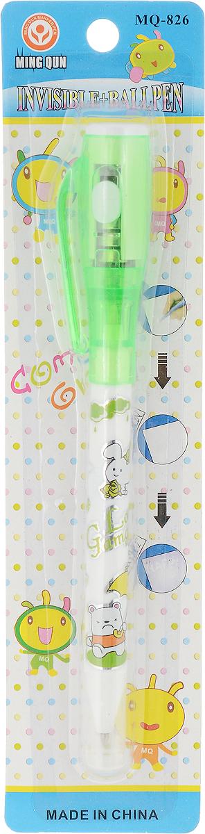 MC-Basir Ручка-шпион c УФ-фонариком с шариковой ручкой цвет зеленыйMQ_826_зеленыйДвусторонняя ручка с невидимыми чернилами и ультрафиолетовым фонариком. Надпись невидимыми чернилами начинается светиться от света УФ-фонарика! Цветная графика, картинки и надпись на корпусе Love Gumgumy. С одной стороны - синий шариковый стержень под колпачком, с другой стороны под колпачком-фонариком - стержень с невидимыми чернилами. В колпачке - ультрафиолетовый фонарик, работающий от 3 батареек AG3 (в комплекте). Батарейки можно заменять.