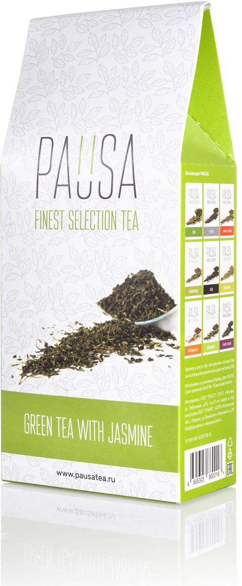 Pausa Зеленый с жасмином чай, 90 г4665303860018Ароматный купаж китайского среднелистового зеленого чая и цветков жасмина. Зеленый чай способствует похудению и укреплению иммунитета, а в сочетании с жасмином успокаивает нервную систему и улучшает работоспособность. Цвет настоя: Золотисто-зеленый, не интенсивный, прозрачный. Аромат: Мягкий, но стойкий, с яркими цветочными и приглушенными травяными нотами. Вкус: Средняя терпкость, умеренная кислотность, послевкусие, интенсивные цветочные ноты с преобладанием жасмина.