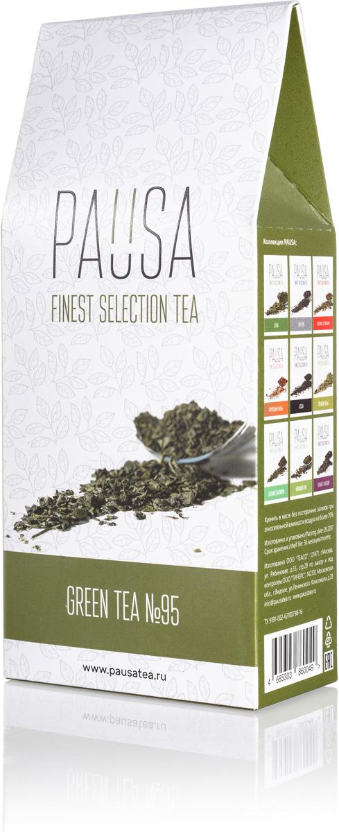 Pausa Зеленый №95 чай, 90 г4665303860049Сорт крупнолистового скрученного зелёного китайского чая. Благодаря специальной технологии обработки, процесс ферментации проходит не полностью, именно по этой причине вкус готового напитка получает умеренную танинность. Высоко ценится за свою способность утолять жажду. Цвет настоя: Оливково-медовый, насыщенный, прозрачный. Аромат: Древесные ноты, копчёности, скошенная трава. Вкус: Терпкий, умеренно кислотный, послевкусие продолжительное, с легкой горчинкой и доминирующими древесно-растительными тонами.