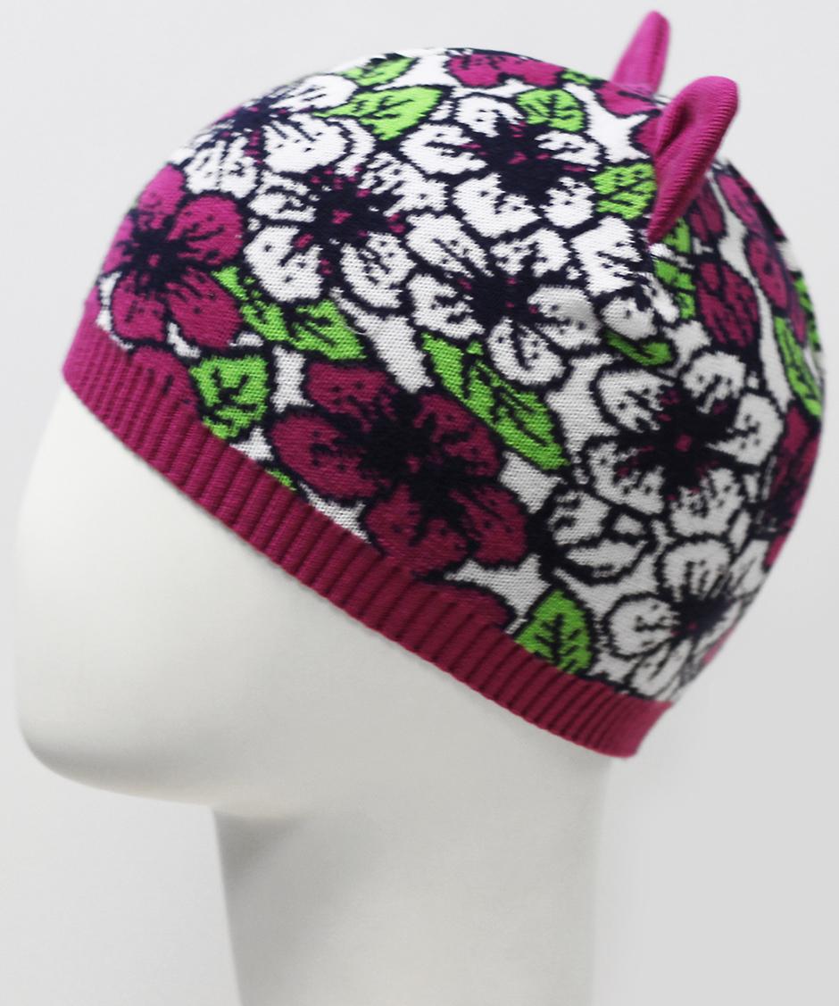 Шапка для девочки Marhatter, цвет: бордовый. MGH7350. Размер 50/52MGH7350Современная шапка Marhatter с ушками изготовлена из хлопка и оформлена ярким цветочным узором. Уважаемые клиенты!Размер, доступный для заказа, является обхватом головы.