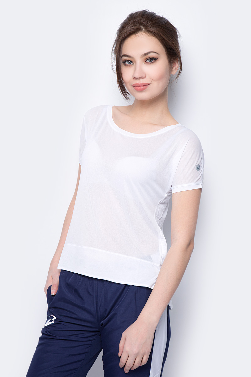 Футболка женская Asics Crop Top, цвет: белый. 154537-0014. Размер S (44) alluring stand collar sleeveless hollow out ruched crop top for women