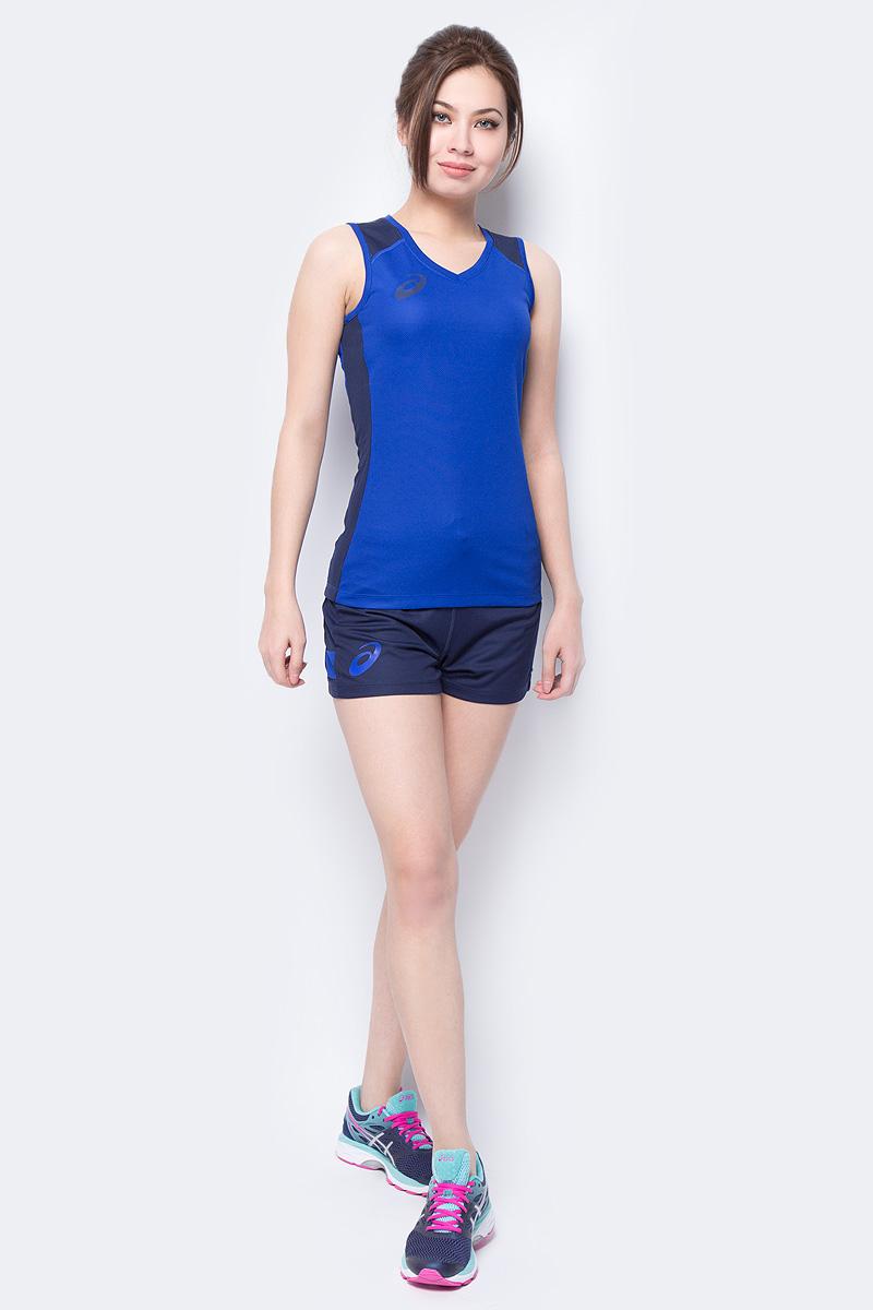 Костюм спортивный женский Asics Woman Sleeveless Set: майка, шорты, цвет: синий. 156861-0805. Размер S (44)156861-0805В костюме Asics Woman Sleeveless Set, состоящем из майки и шорт, вы будете выглядеть стильно, а чувствовать себя невероятно комфортно. Материал костюма гарантирует легкость движений, как при занятиях спортом, так и в повседневной носке. Майка приталенного кроя без рукавов с круглым вырезом горловины. Шорты дополнены мягкой эластичной резинкой на талии. Комфортные плоские швы исключают риск натирания даже во время интенсивных тренировок.