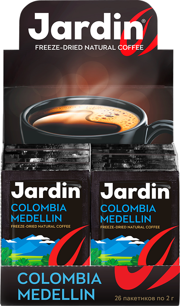 Jardin Colombia Medellin растворимый кофе в пакетиках, 26 шт medellin once caldas