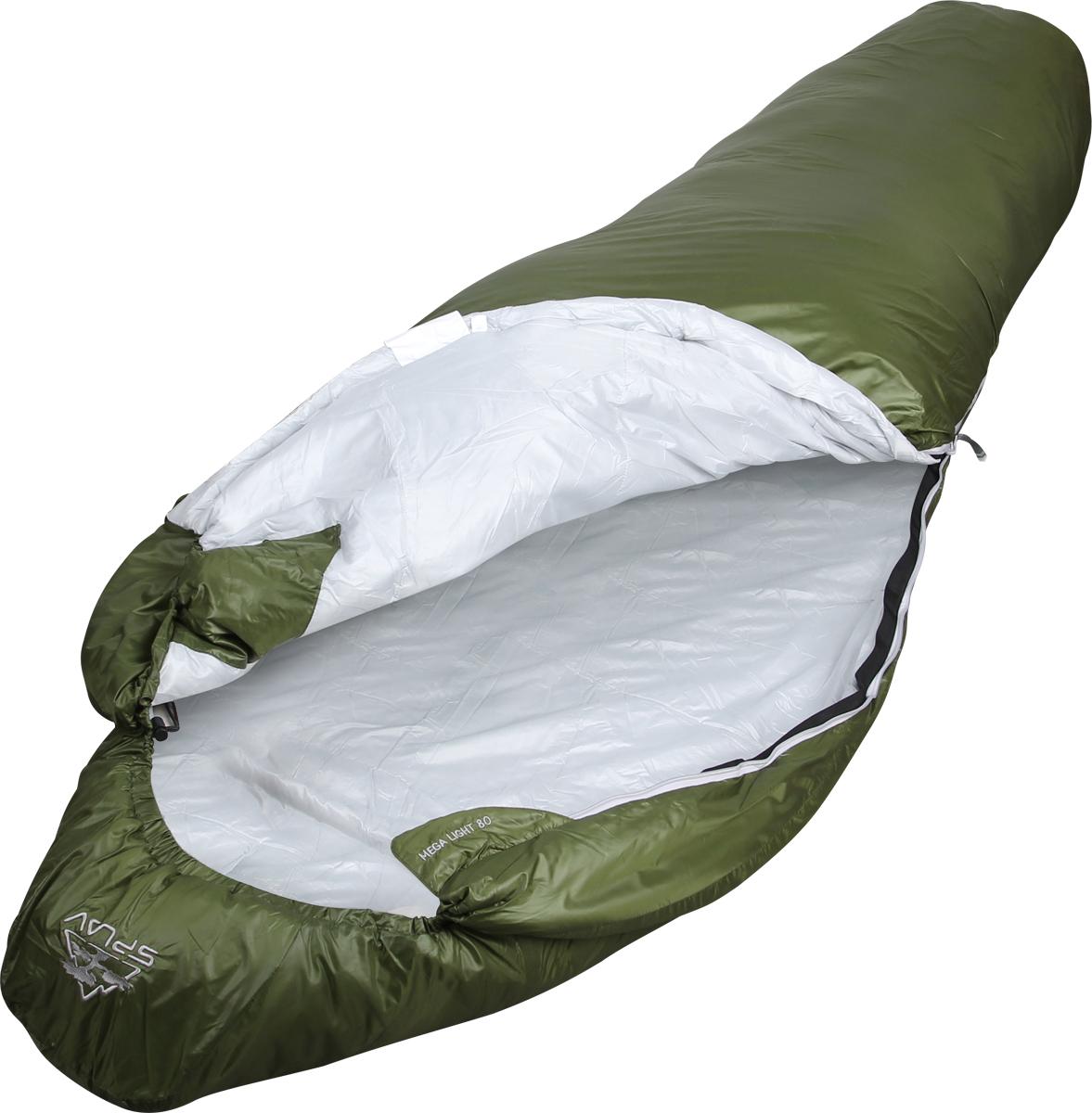 Мешок спальный Сплав Mega Light 80, правосторонняя молния, цвет: зеленый, 220 x 80 x 55 см мешок спальный сплав ranger 2 левосторонняя молния цвет зеленый 210 x 80 x 55 см