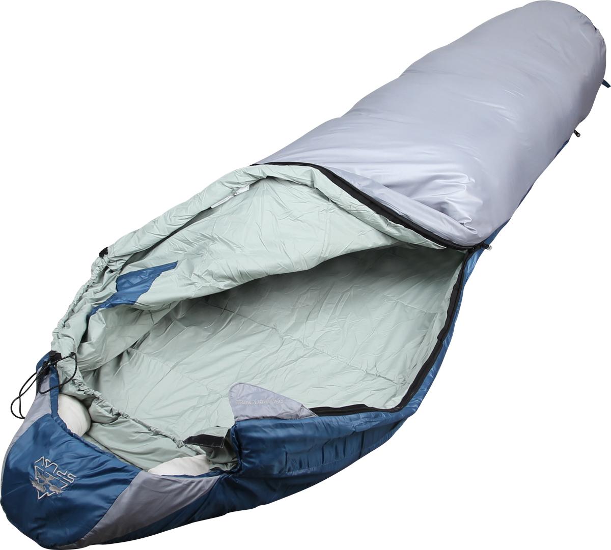 Спальный мешок Сплав Trial Light 150, правосторонняя молния, цвет: серый, 240 x 85 x 60 см