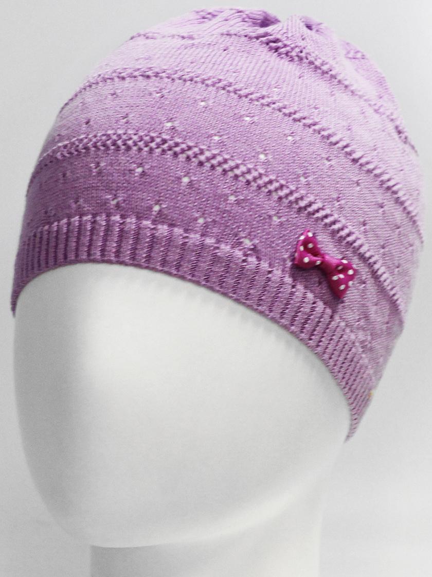 Шапка для девочки Marhatter, цвет: сиреневый. MGH7270. Размер 52/54MGH7270Детская хлопковая шапка Marhatter для маленьких модниц, украшенная объемным бантом. Модель выполнена фактурной вязкой. Уважаемые клиенты!Размер, доступный для заказа, является обхватом головы.