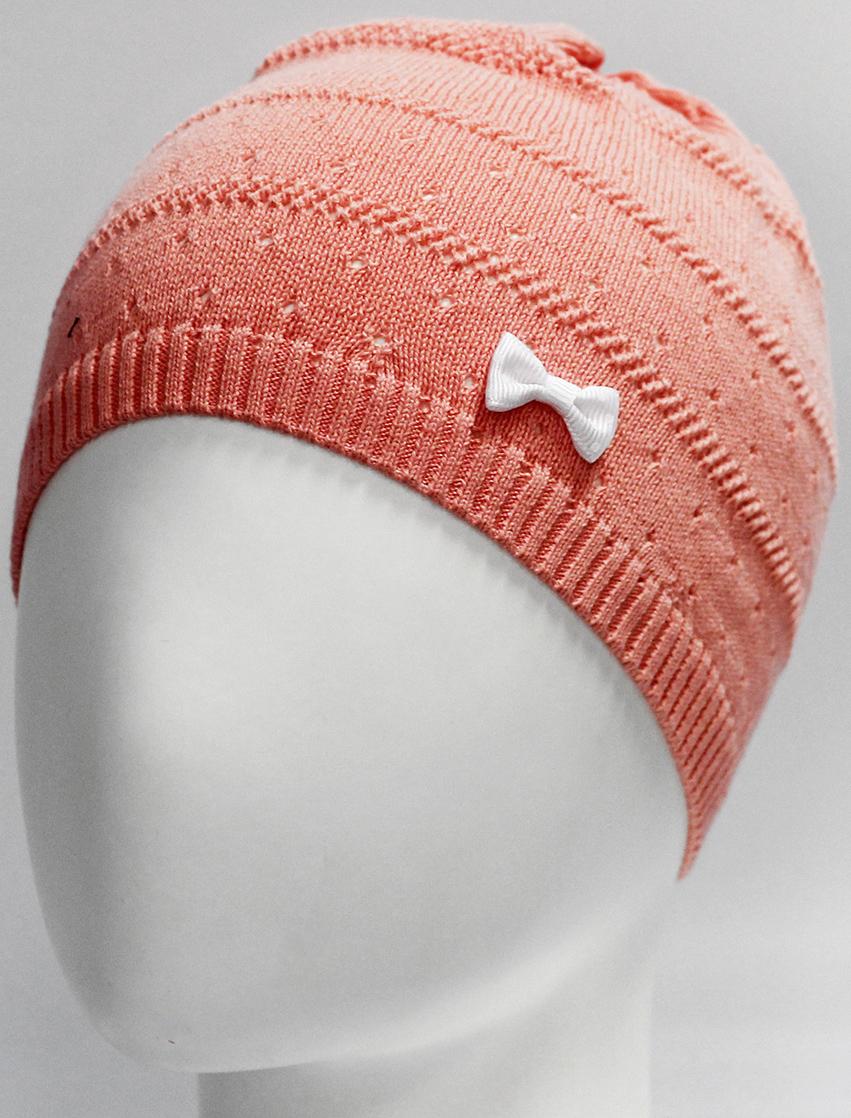 Шапка для девочки Marhatter, цвет: коралловый. MGH7270. Размер 52/54MGH7270Детская хлопковая шапка для маленьких модниц, украшенная объемным бантом. Модель выполнена фактурной вязкой.