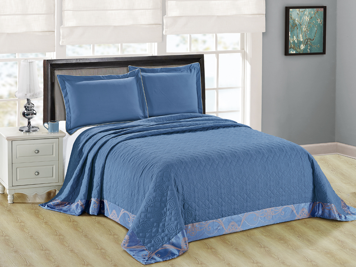 "Комплект для спальни Cleo ""Монифико"": покрывало 220 х 240 см, 2 наволочки 50 х 70 см, цвет: синий"