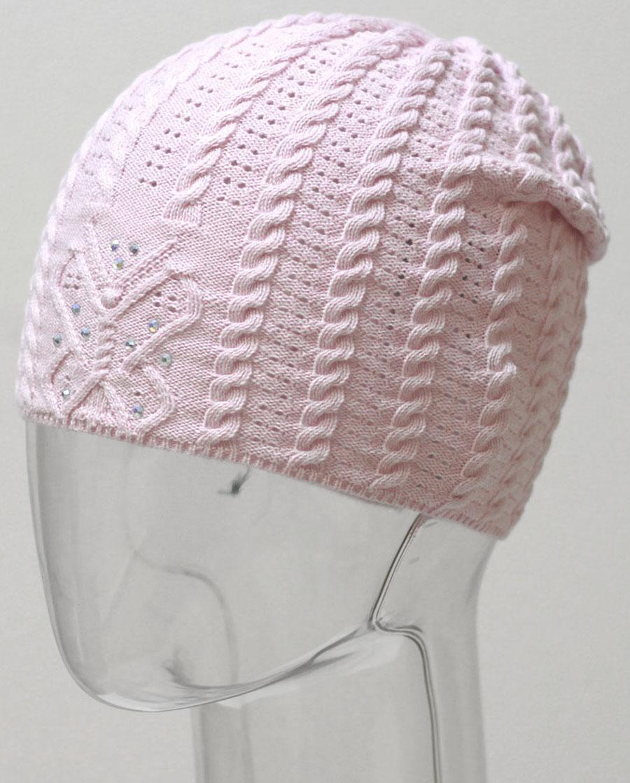 Шапка для девочки Marhatter, цвет: светло-розовый. MGH6480. Размер 50/52MGH6480Детская хлопковая ажурная шапка Marhatter для маленьких модниц, украшенная стразами. Уважаемые клиенты!Размер, доступный для заказа, является обхватом головы.