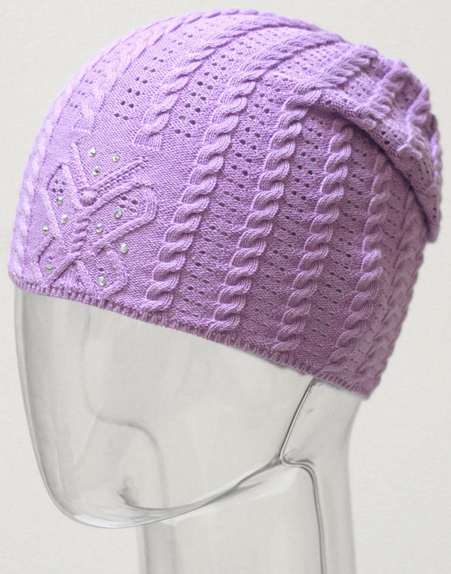 Шапка для девочки Marhatter, цвет: сиреневый. MGH6480. Размер 50/52MGH6480Детская хлопковая ажурная шапка для маленьких модниц, украшенная стразами.