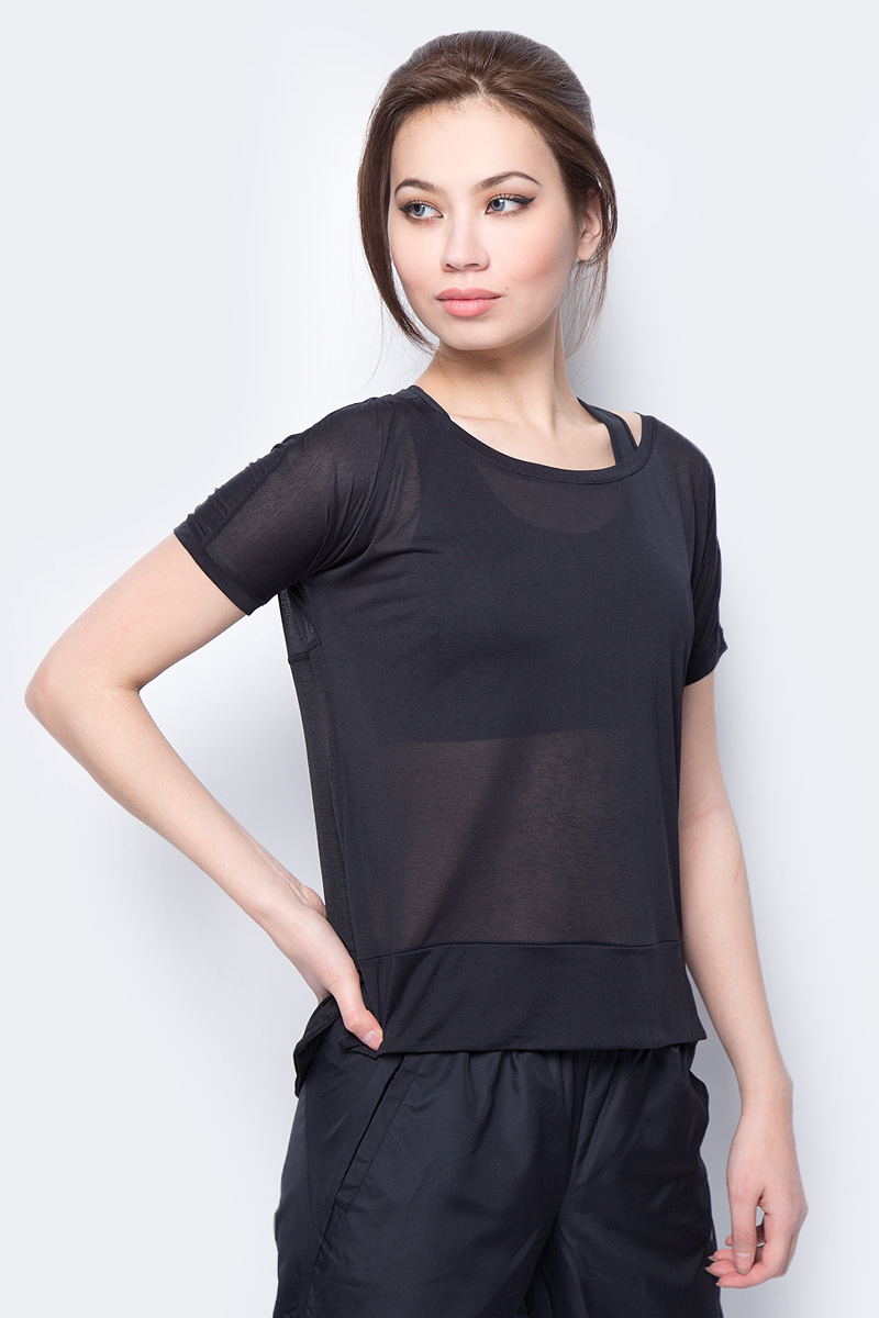 Футболка женская Asics Crop Top, цвет: черный. 154537-0904. Размер S (44) alluring stand collar sleeveless hollow out ruched crop top for women
