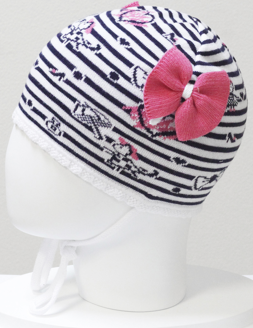 Шапка для девочки Marhatter, цвет: темно-синий. MGH6400. Размер 50/52MGH6400Детская хлопковая шапка Marhatter для маленьких модниц с вывязанным декором, завязками и интересной цветовой расцветкой. Уважаемые клиенты!Размер, доступный для заказа, является обхватом головы.
