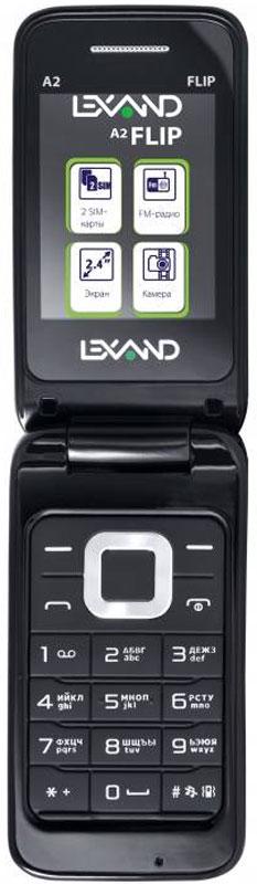 Lexand A2 Flip, BlackA2 FlipLexand A2 Flip создан специально для любителей популярного форм-фактора раскладушка, который позволяетсохранить одновременно большой размер и экрана (он у А2 Flip 2.4 дюйма и разрешением 320x240 точек), иклавиатуры.Кроме того, на внешней стороне крышки дополнительно расположена цифровая сенсорная клавиатура, чтопозволяет принимать и осуществлять вызовы гораздо быстрее. Реализованы также голосовые подсказки принаборе номера. Радует и заявленное время работы устройства: аккумулятор емкостью 800 мАч.Мобильный телефон помогает экономить на оплате счетов за услуги связи. Он поддерживает две SIM-картыстандартных размеров, позволяя менять операторов или тарифы в зависимости от ситуации.Телефон сертифицирован EAC и имеет русифицированную клавиатуру, меню и Руководство пользователя.