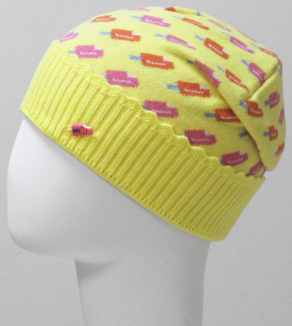 Шапка для девочки Marhatter, цвет: желтый. MGH6399. Размер 50/52MGH6399Тонкая шапка Marhatter с отворотом выполнена из хлопка. Жаккардовый узор и маленькая нашивка в виде мороженного добавляют модели неординарности. Уважаемые клиенты!Размер, доступный для заказа, является обхватом головы.