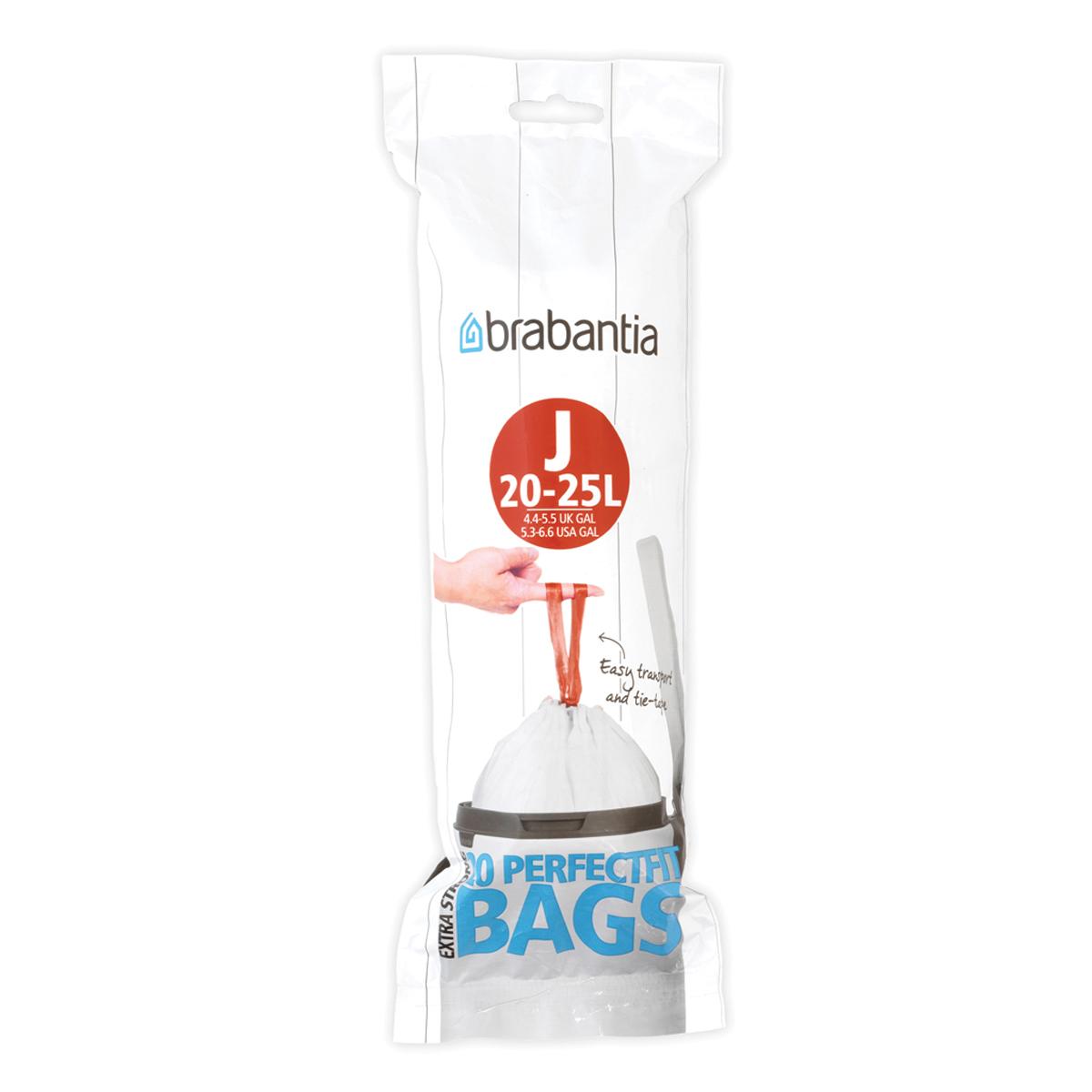 Мешки для мусора Brabantia J, цвет: белый, 23 л, 20 шт115585Удобно и быстро вкладываются и достаются из бака. Эстетичный вид – идеально подходят по размеру к мусорным бакам Brabantia, мешок не выступает наружу. Уникальная цветовая маркировка позволяет выбрать мешки нужного размера. Вентиляционные отверстия для удобства вкладывания в бак. Изготовлены из особо прочного полиэтилена (HDPE). Легко затягиваются и переносятся – специальная лента для стягивания горловины. Упаковка: 20 мешков в рулоне.