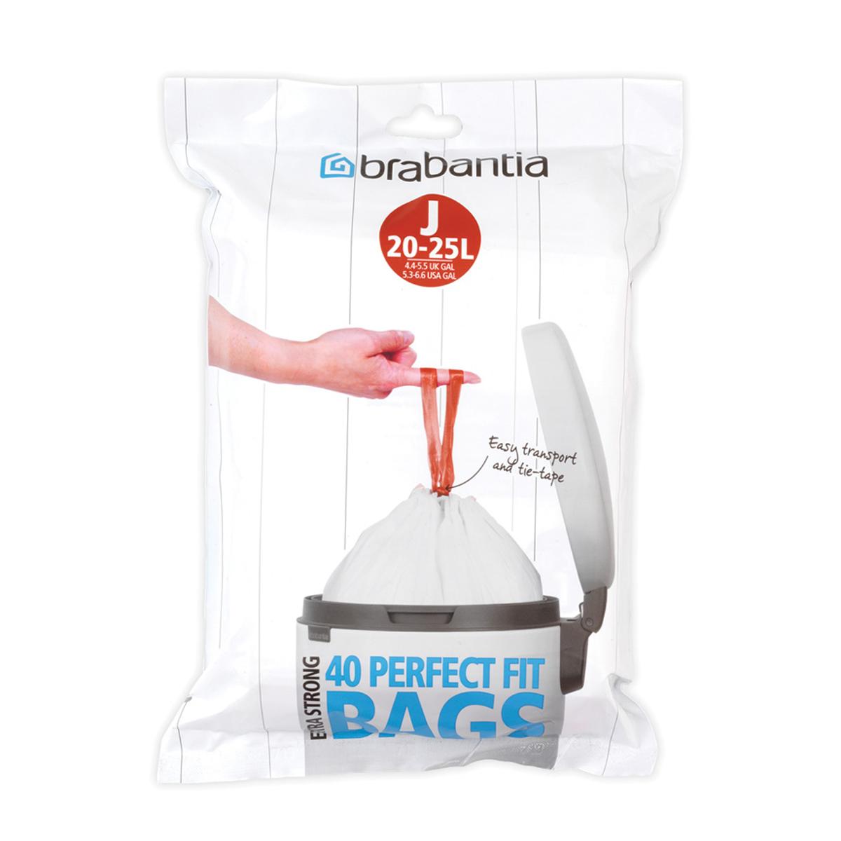 Мешки для мусора Brabantia J, цвет: белый, 23 л, 40 шт115608Удобно и быстро вкладываются и достаются из бака. Эстетичный вид – идеально подходят по размеру к мусорным бакам Brabantia, мешок не выступает наружу. Уникальная цветовая маркировка позволяет выбрать мешки нужного размера. Вентиляционные отверстия для удобства вкладывания в бак. Изготовлены из особо прочного полиэтилена (HDPE). Легко затягиваются и переносятся – специальная лента для стягивания горловины. Упаковка-диспенсер: 20 мешков.