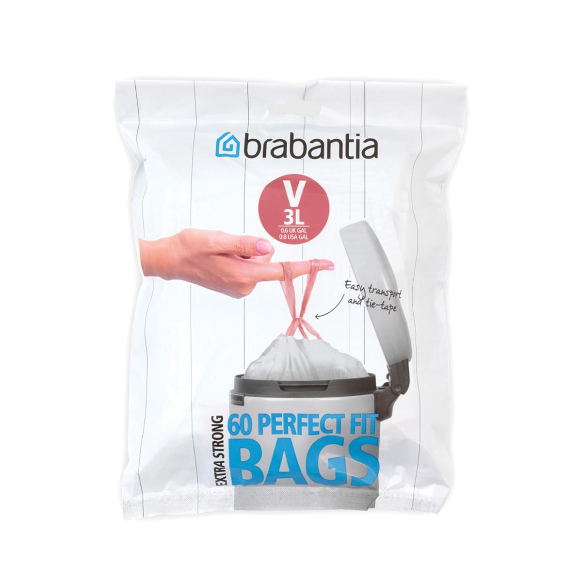 Мешки для мусора Brabantia  V , цвет: белый, 3 л, 60 шт -  Инвентарь для уборки