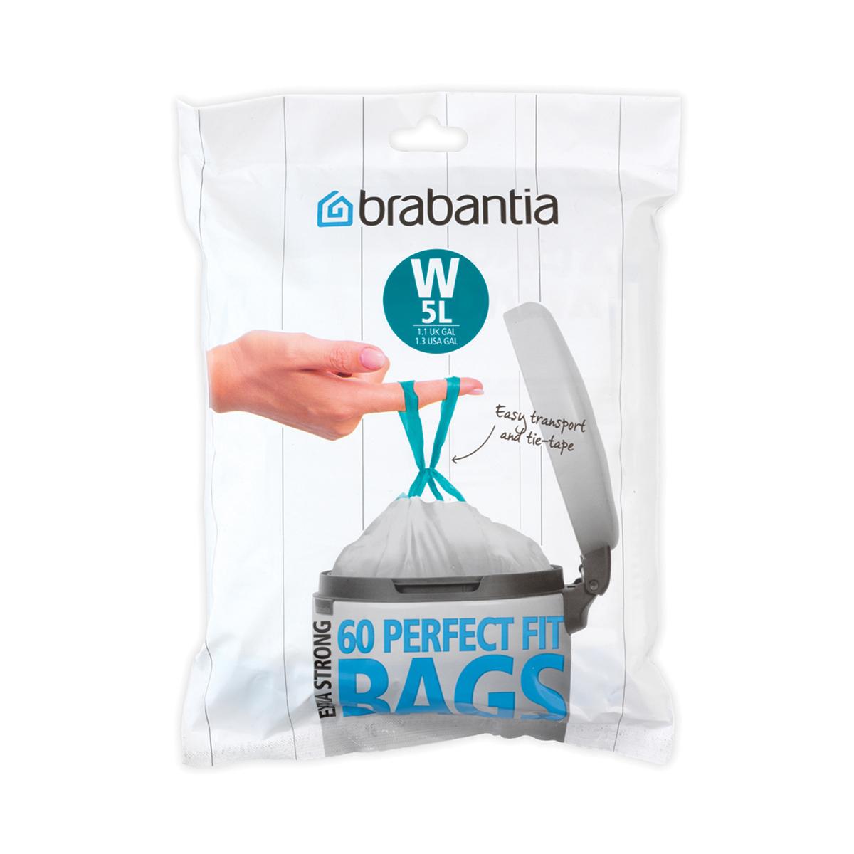 Мешки для мусора Brabantia W, цвет: белый, 5 л, 60 шт116827Удобно и быстро вкладываются и достаются из бака. Эстетичный вид – идеально подходят по размеру к мусорным бакам Brabantia, мешок не выступает наружу. Уникальная цветовая маркировка позволяет выбрать мешки нужного размера. Вентиляционные отверстия для удобства вкладывания в бак. Изготовлены из особо прочного полиэтилена (HDPE). Легко затягиваются и переносятся – специальная лента для стягивания горловины. Упаковка-диспенсер: 60 мешков.