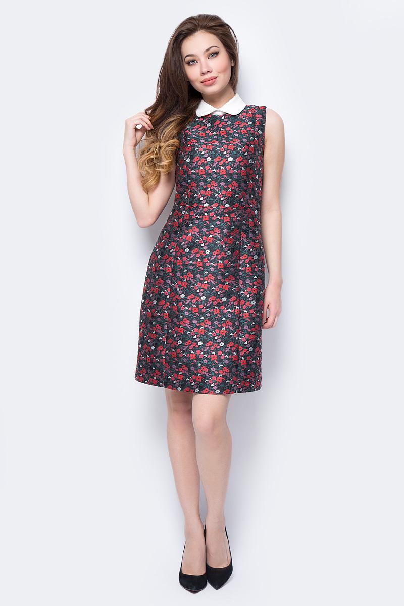 Платье adL, цвет: черный. 12433798000_201. Размер S (42/44)12433798000_201Яркое платье adL, оформленное цветочным принтом, поможет создать стильный образ и привлечь внимание окружающих. Модель прилегающего силуэта с контрастным отложным воротничком застегивается на скрытую молнию на спинке и пуговицы на воротнике. Модель подойдет для офиса, прогулок и дружеских встреч и сделает ваш образ неповторимым.
