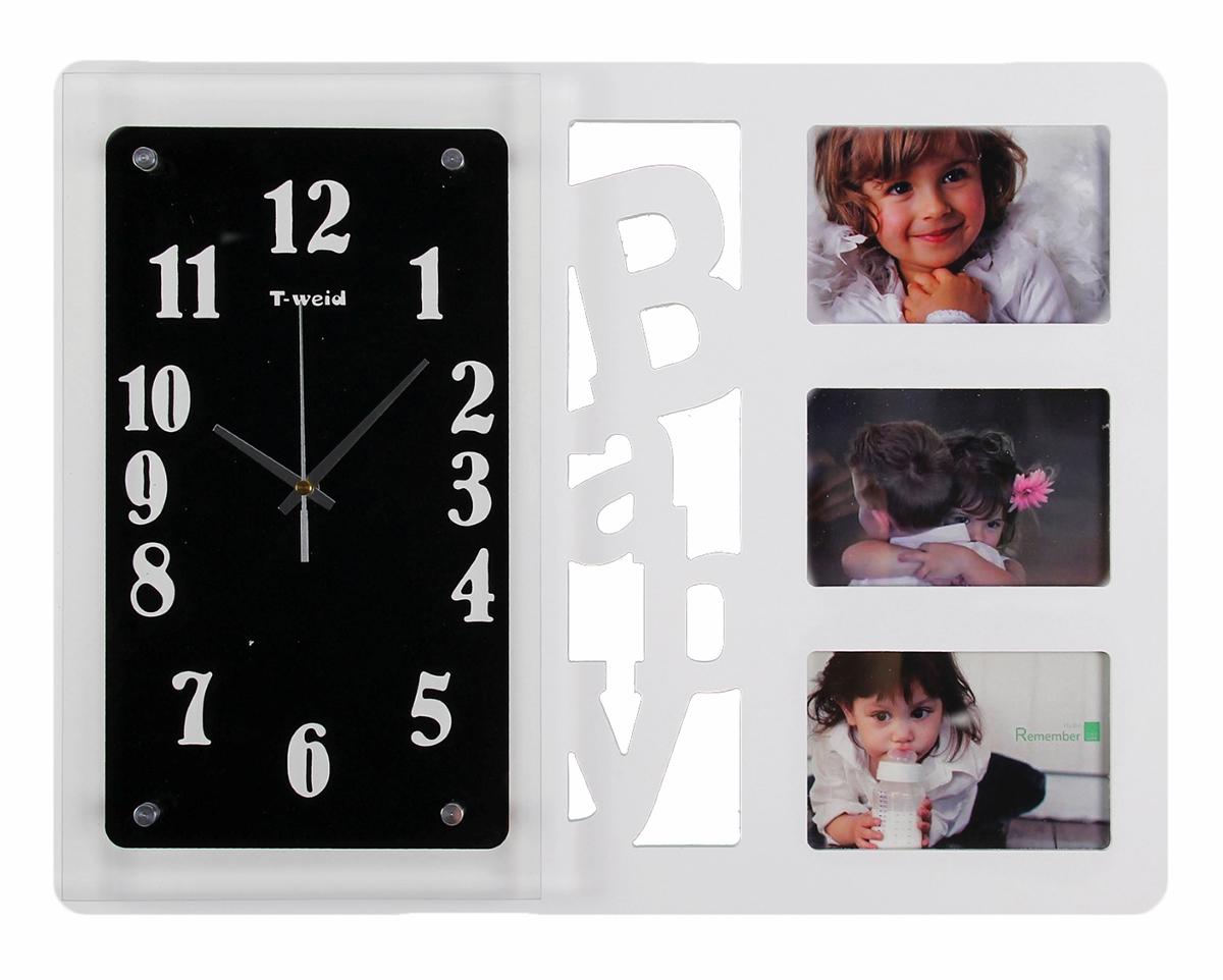 Часы настенные T-Weid Хайтек. Baby, 3 фоторамки. 1030972