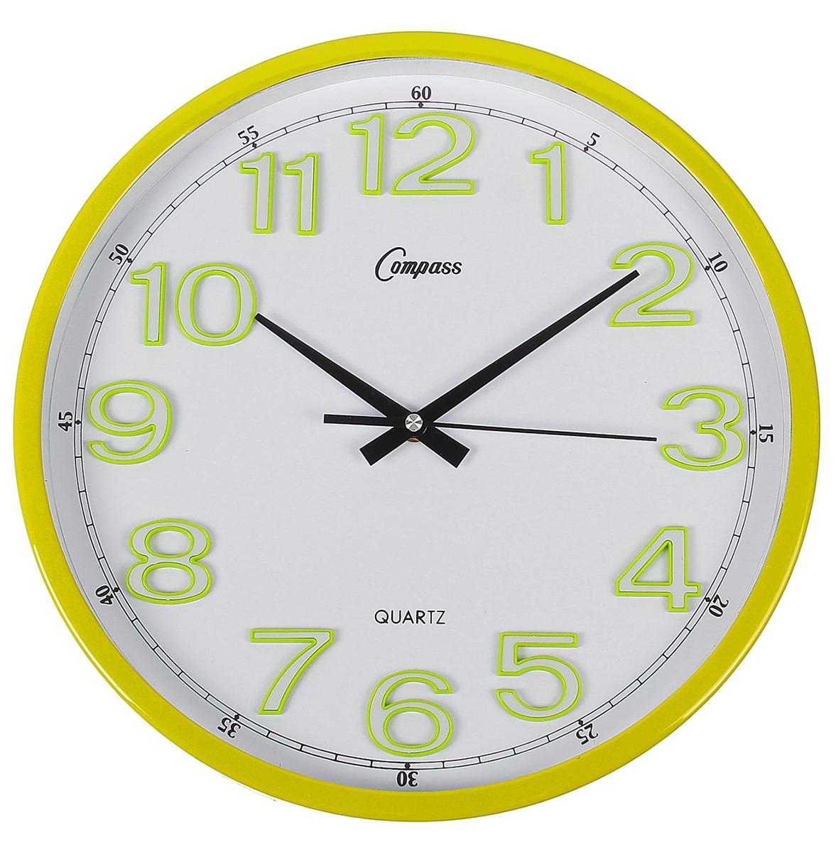 Часы настенные, цвет: желтый, белый, зеленый, диаметр 34 см1031003Каждому хозяину периодически приходит мысль обновить свою квартиру, сделать ремонт, перестановку или кардинально поменять внешний вид каждой комнаты. Часы настенные круглые Lemon, d=34 см, циферблат белый, рама желтая — привлекательная деталь, которая поможет воплотить вашу интерьерную идею, создать неповторимую атмосферу в вашем доме. Окружите себя приятными мелочами, пусть они радуют глаз и дарят гармонию.Часы настенные круг, рама желтая тонкая, циферблат белый, цифры в зеленой кайме d=34см 1031003