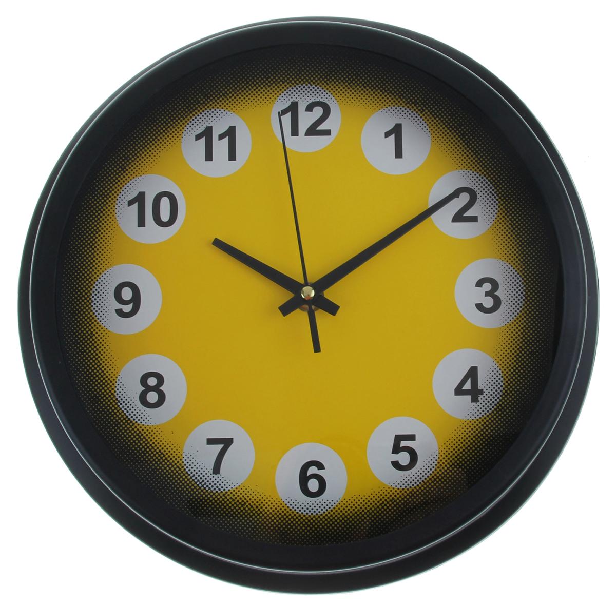 Часы настенные, цвет: черный, желтый, диаметр 27,5 см1031021Каждому хозяину периодически приходит мысль обновить свою квартиру, сделать ремонт, перестановку или кардинально поменять внешний вид каждой комнаты. Часы настенные круглые Figures in circles, d=27,5 см, рама-багет черная, циферблат желтый, цифры в белых кружках — привлекательная деталь, которая поможет воплотить вашу интерьерную идею, создать неповторимую атмосферу в вашем доме. Окружите себя приятными мелочами, пусть они радуют глаз и дарят гармонию.Часы настенные круг, рама черная багет, циферблат желтый, цифры в белых кружках d=27,5см 1031021