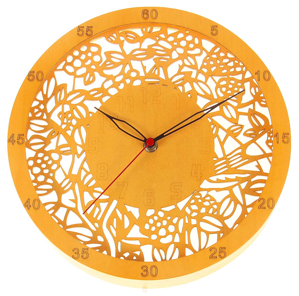 Часы настенные Дерево. Ажурные листья, диаметр 25 см1031033Каждому хозяину периодически приходит мысль обновить свою квартиру, сделать ремонт, перестановку или кардинально поменять внешний вид каждой комнаты. Часы настенные интерьерные Серия Дерево. Ажурные листья, d=25 см — привлекательная деталь, которая поможет воплотить вашу интерьерную идею, создать неповторимую атмосферу в вашем доме. Окружите себя приятными мелочами, пусть они радуют глаз и дарят гармонию.Часы настенные серии Дерево круг Ажурные листья, d=25см 1031033