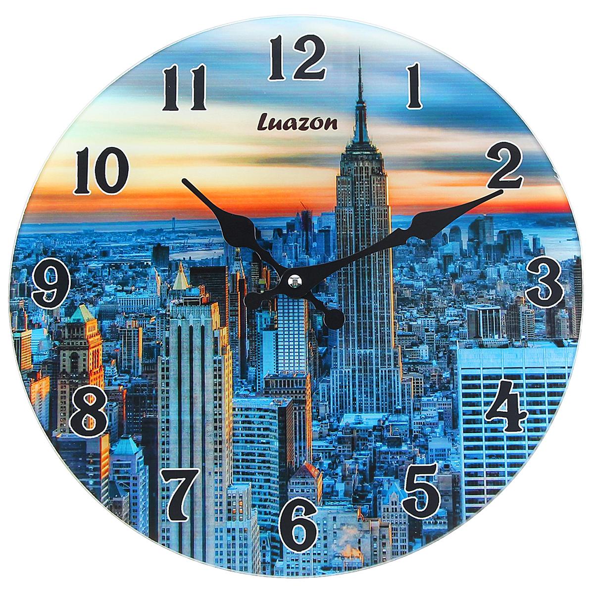 Часы настенные Есения. Нью-Йорк в закате, диаметр 30 см1063137Каждому хозяину периодически приходит мысль обновить свою квартиру, сделать ремонт, перестановку или кардинально поменять внешний вид каждой комнаты. Часы настенные из стекла Закат в Нью Йорке — привлекательная деталь, которая поможет воплотить вашу интерьерную идею, создать неповторимую атмосферу в вашем доме. Окружите себя приятными мелочами, пусть они радуют глаз и дарят гармонию.часы настенные круг серия Есения Нью Йорк в закате d=30см 1063137