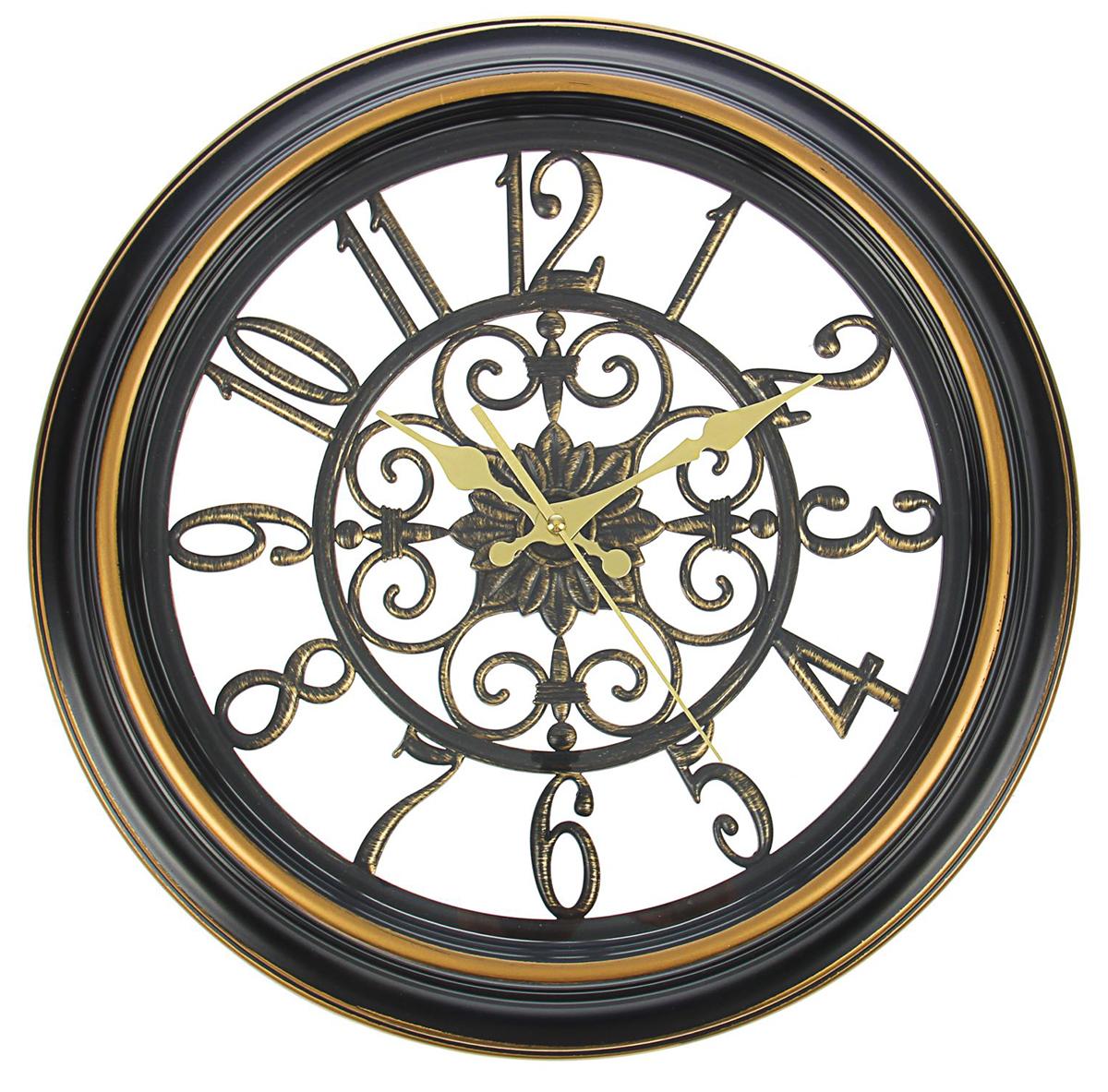 Часы настенные Цифры, цвет: черный, диаметр 40 см1104412Каждому хозяину периодически приходит мысль обновить свою квартиру, сделать ремонт, перестановку или кардинально поменять внешний вид каждой комнаты. Часы настенные интерьерные Серия Цифры. Узоры, d=40 см, цифры по кайме, рама-багет черная под старину — привлекательная деталь, которая поможет воплотить вашу интерьерную идею, создать неповторимую атмосферу в вашем доме. Окружите себя приятными мелочами, пусть они радуют глаз и дарят гармонию.Часы настенные серия Цифры, круг, цифры по кайме, рама черная багет d=40см 1104412