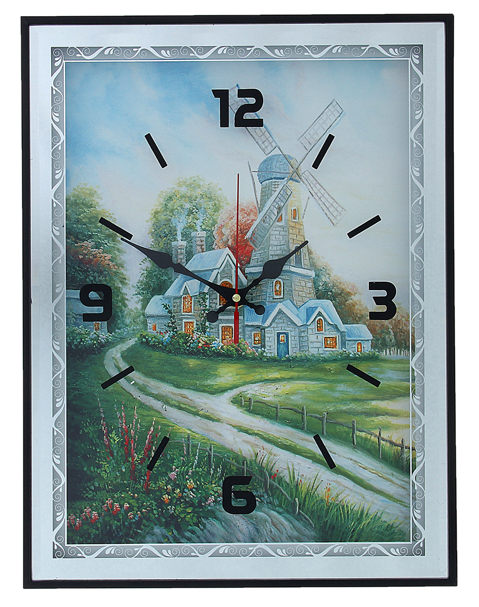 Часы настенные Мельница, 41 х 31 см1104439Каждому хозяину периодически приходит мысль обновить свою квартиру, сделать ремонт, перестановку или кардинально поменять внешний вид каждой комнаты. Настенные часы-картина Мельница, 41 ? 31 см, зеркальная рама — привлекательная деталь, которая поможет воплотить вашу интерьерную идею, создать неповторимую атмосферу в вашем доме. Окружите себя приятными мелочами, пусть они радуют глаз и дарят гармонию.Часы настенные мдф зеркальная рама Мельница 41х31х3 см 1104439