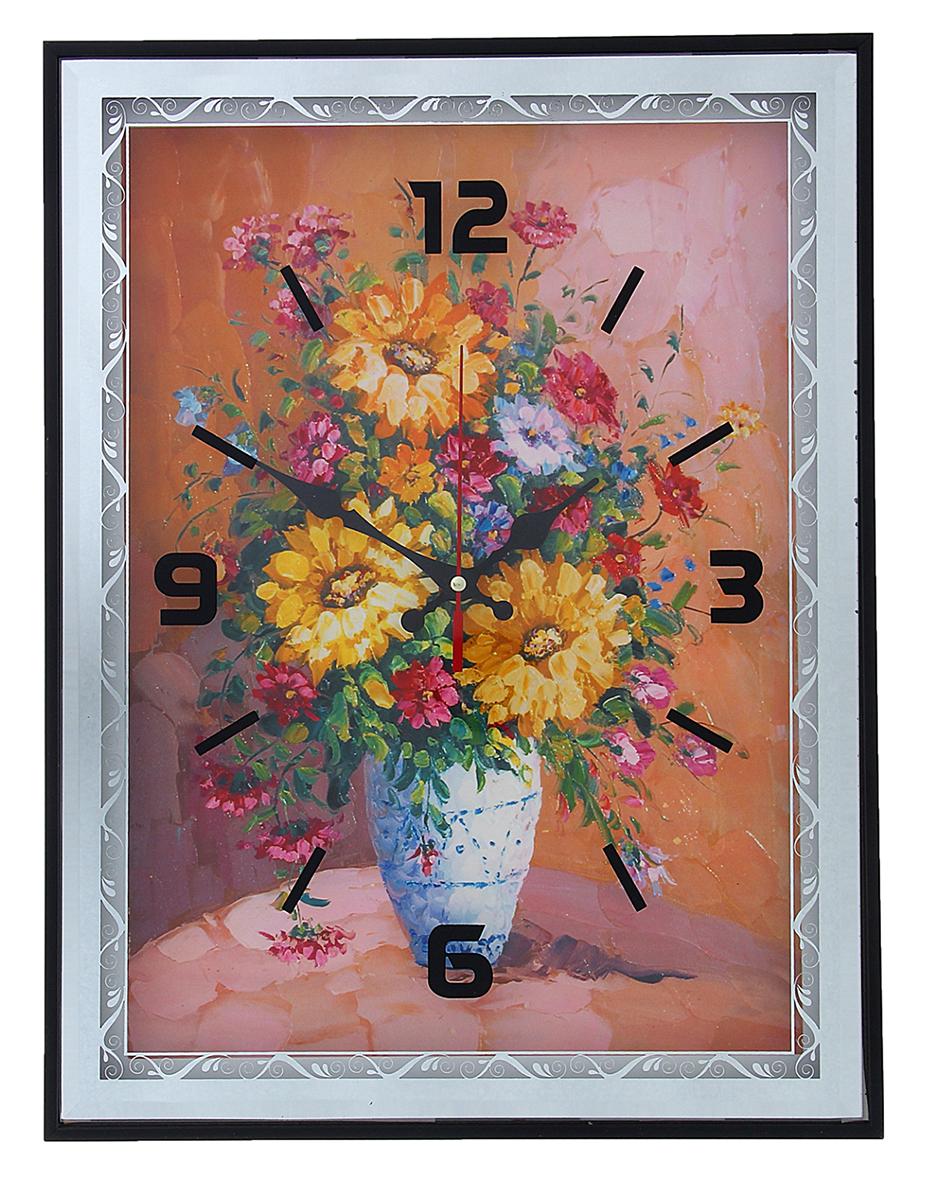 Часы настенные Подсолнухи в вазе, 41 х 31 см troyka часы настенные troyka 31 см