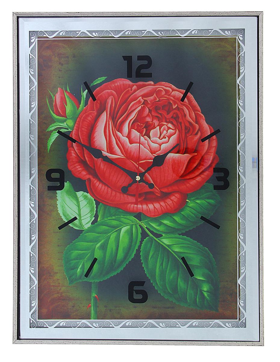 Часы настенные Роза алая, 41 х 31 см1104442Каждому хозяину периодически приходит мысль обновить свою квартиру, сделать ремонт, перестановку или кардинально поменять внешний вид каждой комнаты. Настенные часы-картина Красный пион, 41 ? 31 см, зеркальная рама — привлекательная деталь, которая поможет воплотить вашу интерьерную идею, создать неповторимую атмосферу в вашем доме. Окружите себя приятными мелочами, пусть они радуют глаз и дарят гармонию.Часы настенные мдф зеркальная рама Роза алая 41х31х3 см 1104442