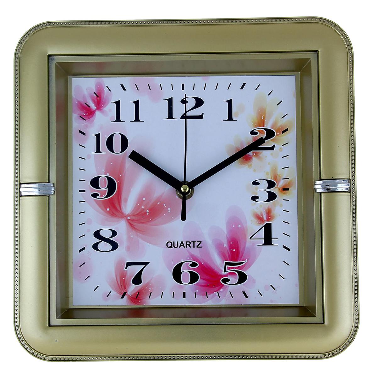 Часы настенные Золотые, 26 х 26 см1138770Каждому хозяину периодически приходит мысль обновить свою квартиру, сделать ремонт, перестановку или кардинально поменять внешний вид каждой комнаты. Часы настенные Весенние цветы, квадратные с закругленными углами, 26 ? 26 см, рама золотистая — привлекательная деталь, которая поможет воплотить вашу интерьерную идею, создать неповторимую атмосферу в вашем доме. Окружите себя приятными мелочами, пусть они радуют глаз и дарят гармонию.Часы настенные квадратные закругленные углы Золотые 26х4х26 см 1138770