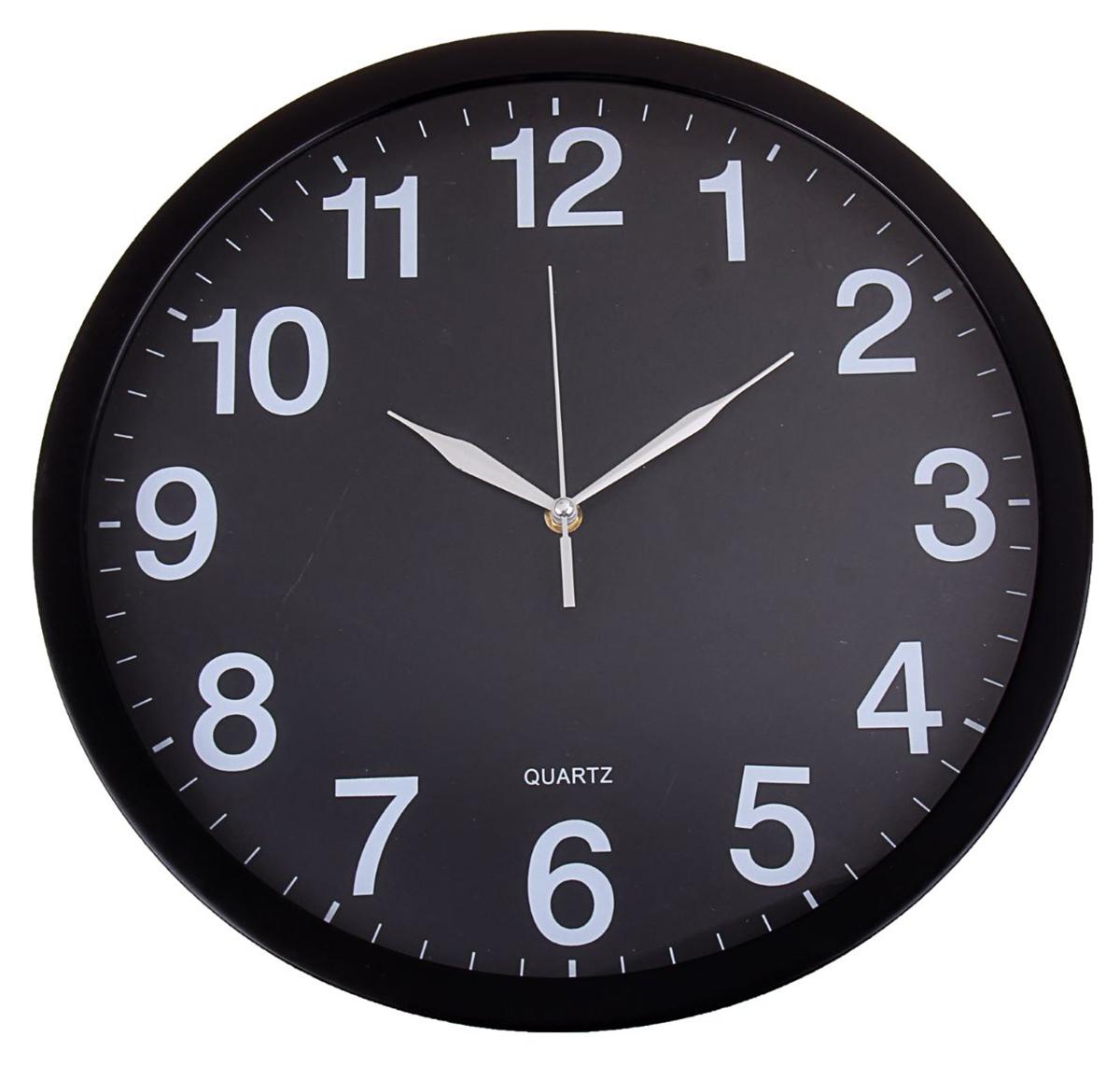 Часы настенные, цвет: черный, диаметр 40 см1144458Каждому хозяину периодически приходит мысль обновить свою квартиру, сделать ремонт, перестановку или кардинально поменять внешний вид каждой комнаты. Часы настенные круглые Классика, d=40 см, черные, цифры белые — привлекательная деталь, которая поможет воплотить вашу интерьерную идею, создать неповторимую атмосферу в вашем доме. Окружите себя приятными мелочами, пусть они радуют глаз и дарят гармонию.Часы настенные круг, рама черная тонкая, циферблат черный d=40см 1144458