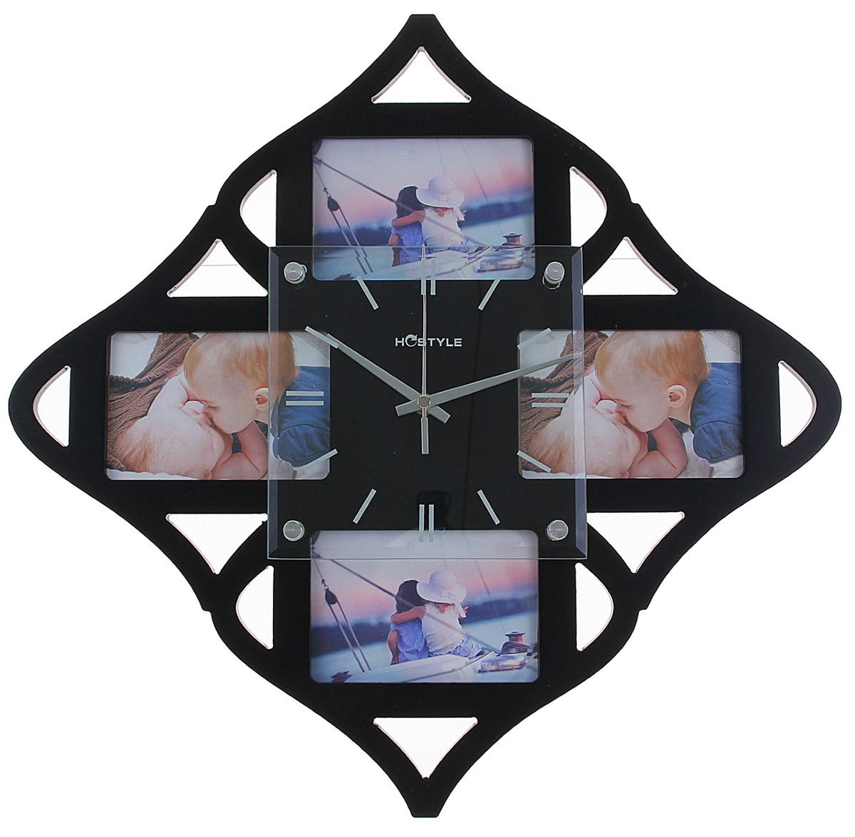 Часы настенные Хайтек. Ромб, 4 фоторамки 8х12, цвет: черный, 39 х 58,5 см1144529Каждому хозяину периодически приходит мысль обновить свою квартиру, сделать ремонт, перестановку или кардинально поменять внешний вид каждой комнаты. Часы настенные Хайтек. Ромб, черные + 4 фоторамки 8 ? 12 см — привлекательная деталь, которая поможет воплотить вашу интерьерную идею, создать неповторимую атмосферу в вашем доме. Окружите себя приятными мелочами, пусть они радуют глаз и дарят гармонию. Хотите создать свое небольшое генеалогическое древо, но не знаете как? Начните с такой прекрасной фоторамки в виде коллажа! Она не только украсит ваш интерьер, объединит дорогие сердцу события в одну замечательную композицию, но и заложит фундамент для создания семейного дерева. Такая необычная фоторамка станет чудесным подарком по случаю праздника.Часы настенные хайтек+4 фоторамки Ромб черные (фото 8х12) 39*58,5см 1144529