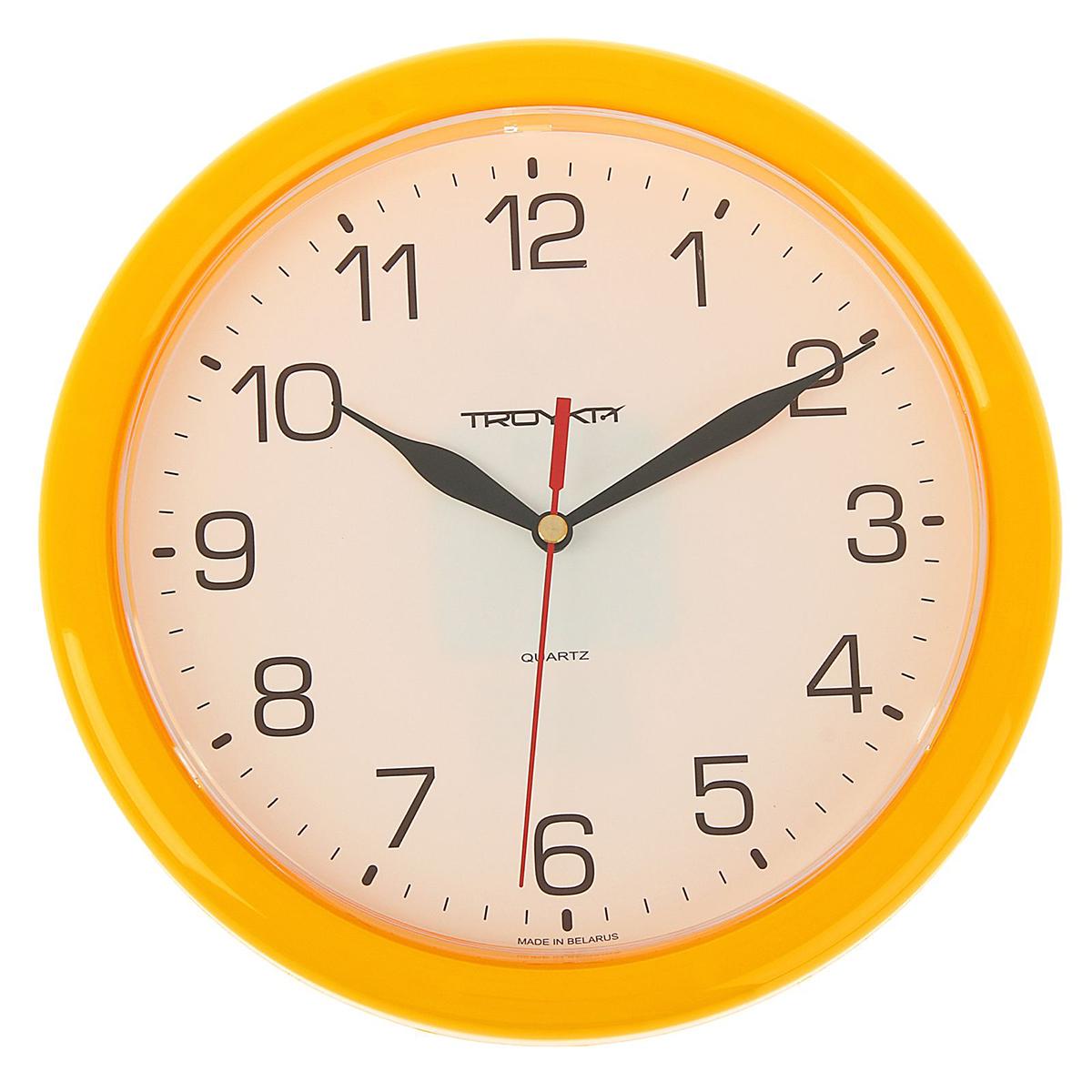 Часы настенные Тройка Желтая классика, диаметр 24,5 см1180149Часы настенные круглые Солнечный круг, d=24,5 см, рама желтая — сувенир в полном смысле этого слова. И главная его задача — хранить воспоминание о месте, где вы побывали, или о том человеке, который подарил данный предмет. Преподнесите эту вещь своему другу, и она станет достойным украшением его дома. Каждому хозяину периодически приходит мысль обновить свою квартиру, сделать ремонт, перестановку или кардинально поменять внешний вид каждой комнаты. Часы настенные круглые Солнечный круг, d=24,5 см, рама желтая — привлекательная деталь, которая поможет воплотить вашу интерьерную идею, создать неповторимую атмосферу в вашем доме. Окружите себя приятными мелочами, пусть они радуют глаз и дарят гармонию.Часы настенные круглые Желтая классика, желтое кольцо 24,5 см 1180149