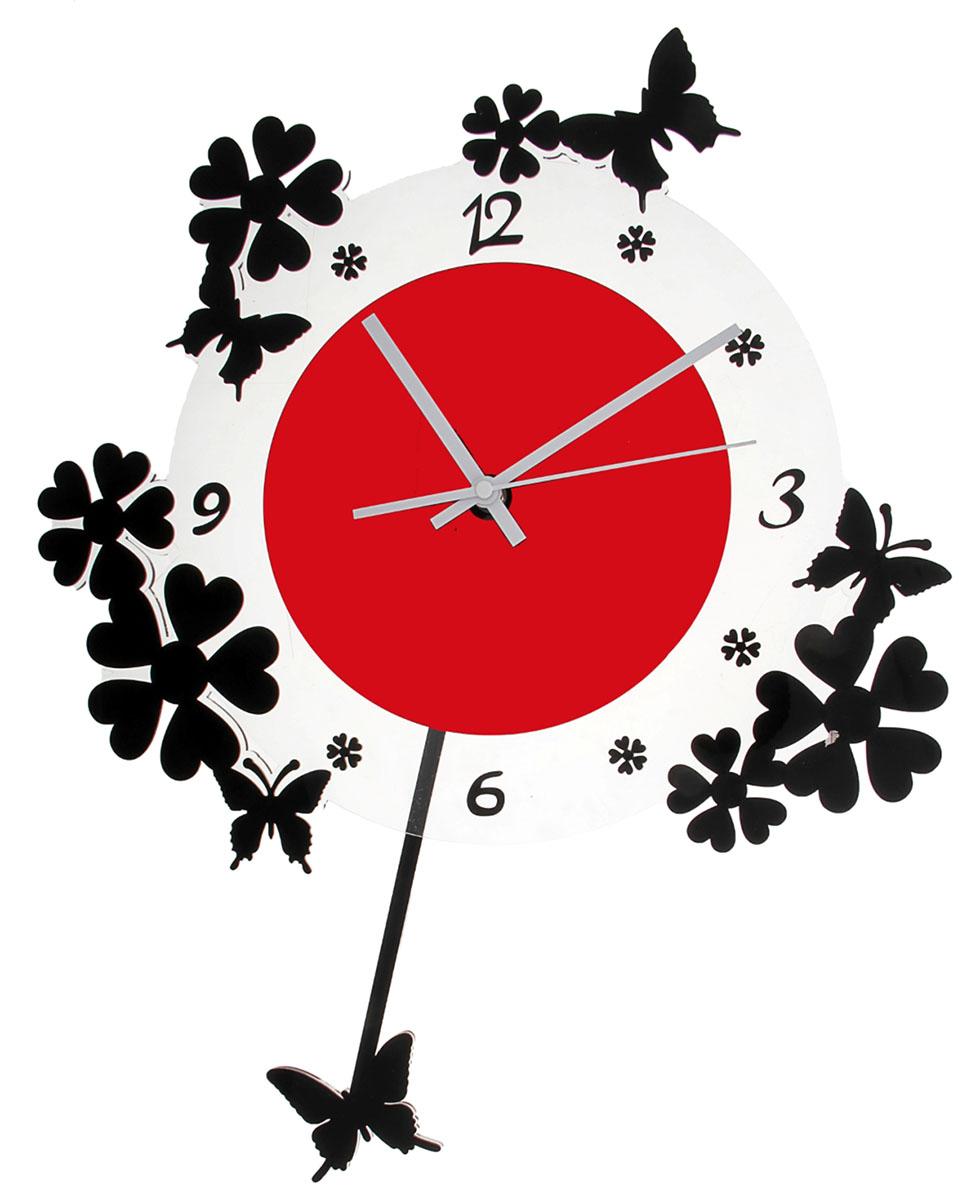 Часы настенные Акрил. Цветочки, с маятником, 40 х 50 см118702Каждому хозяину периодически приходит мысль обновить свою квартиру, сделать ремонт, перестановку или кардинально поменять внешний вид каждой комнаты. Часы настенные интерьерные Серия Акрил. Весеннее настроение с маятником в форме бабочки, черно-красные — привлекательная деталь, которая поможет воплотить вашу интерьерную идею, создать неповторимую атмосферу в вашем доме. Окружите себя приятными мелочами, пусть они радуют глаз и дарят гармонию.Часы настенные серия Акрил Цветочки вокруг на маятнике бабочка красные с черным 40*50см 118702
