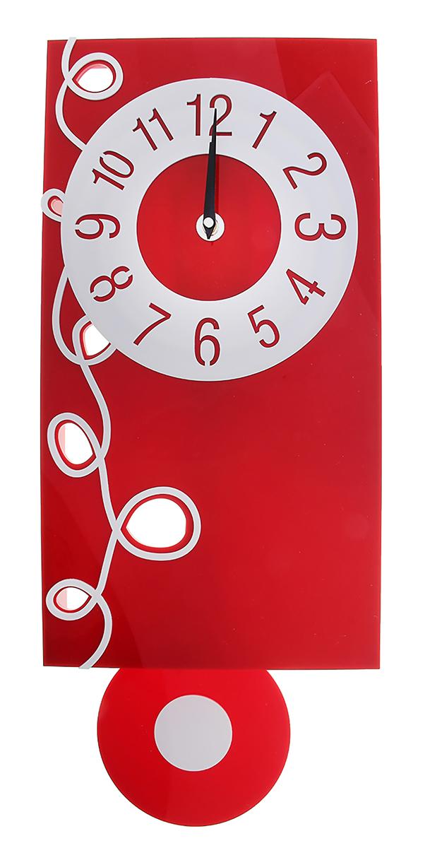 Часы настенные Акрил, с маятником, 25 х 60 см118705Каждому хозяину периодически приходит мысль обновить свою квартиру, сделать ремонт, перестановку или кардинально поменять внешний вид каждой комнаты. Часы настенные интерьерные Серия Акрил. Завиток с маятником — привлекательная деталь, которая поможет воплотить вашу интерьерную идею, создать неповторимую атмосферу в вашем доме. Окружите себя приятными мелочами, пусть они радуют глаз и дарят гармонию.Часы настенные серия Акрил с маятником узор слева белый с красным 25*60см 118705