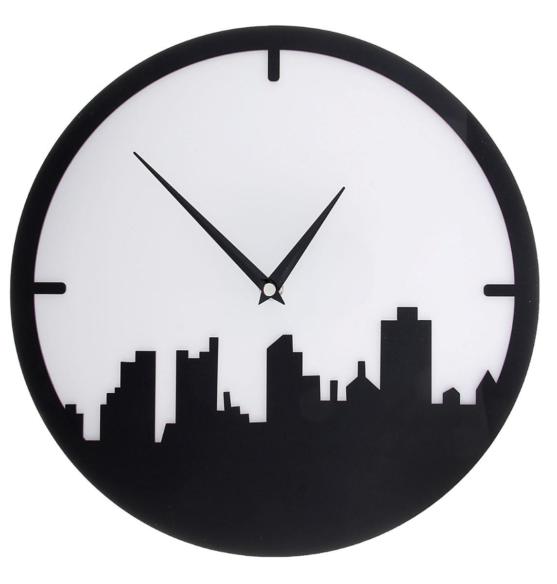 Часы настенные Акрил. Город, диаметр 30 см. 118710118710Каждому хозяину периодически приходит мысль обновить свою квартиру, сделать ремонт, перестановку или кардинально поменять внешний вид каждой комнаты. Часы настенные интерьерные Серия Акрил. Мегаполис, d=30 см, черно-белые — привлекательная деталь, которая поможет воплотить вашу интерьерную идею, создать неповторимую атмосферу в вашем доме. Окружите себя приятными мелочами, пусть они радуют глаз и дарят гармонию.Часы настенные серия Акрил Город черный с белым d=30см 118710