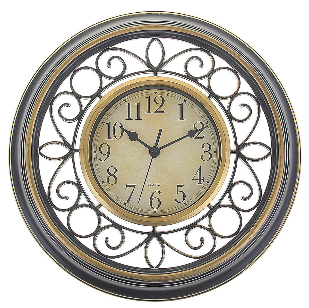 Часы настенные интерьерные Черные витки, диаметр 35 см1205521Каждому хозяину периодически приходит мысль обновить свою квартиру, сделать ремонт, перестановку или кардинально поменять внешний вид каждой комнаты. Часы настенные круглые Завитки, d=35 см, пустотелый корпус под бронзу, витки черные — привлекательная деталь, которая поможет воплотить вашу интерьерную идею, создать неповторимую атмосферу в вашем доме. Окружите себя приятными мелочами, пусть они радуют глаз и дарят гармонию.Часы настенные интерьерные, круглые 35 см, пустотелый корпус, бронза, черные витки 1205521
