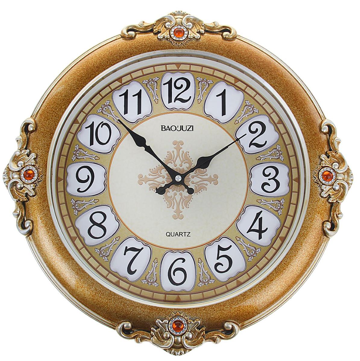 Часы настенные интерьерные Узоры по краям, диаметр 38,5 см1206263Каждому хозяину периодически приходит мысль обновить свою квартиру, сделать ремонт, перестановку или кардинально поменять внешний вид каждой комнаты. Часы настенные круглые Роскошь, d=38,5 см, коричнево-желтые — привлекательная деталь, которая поможет воплотить вашу интерьерную идею, создать неповторимую атмосферу в вашем доме. Окружите себя приятными мелочами, пусть они радуют глаз и дарят гармонию.Часы настенные интерьерные Узоры по краям коричнево-желтые, круглые 38,5 см 1206263