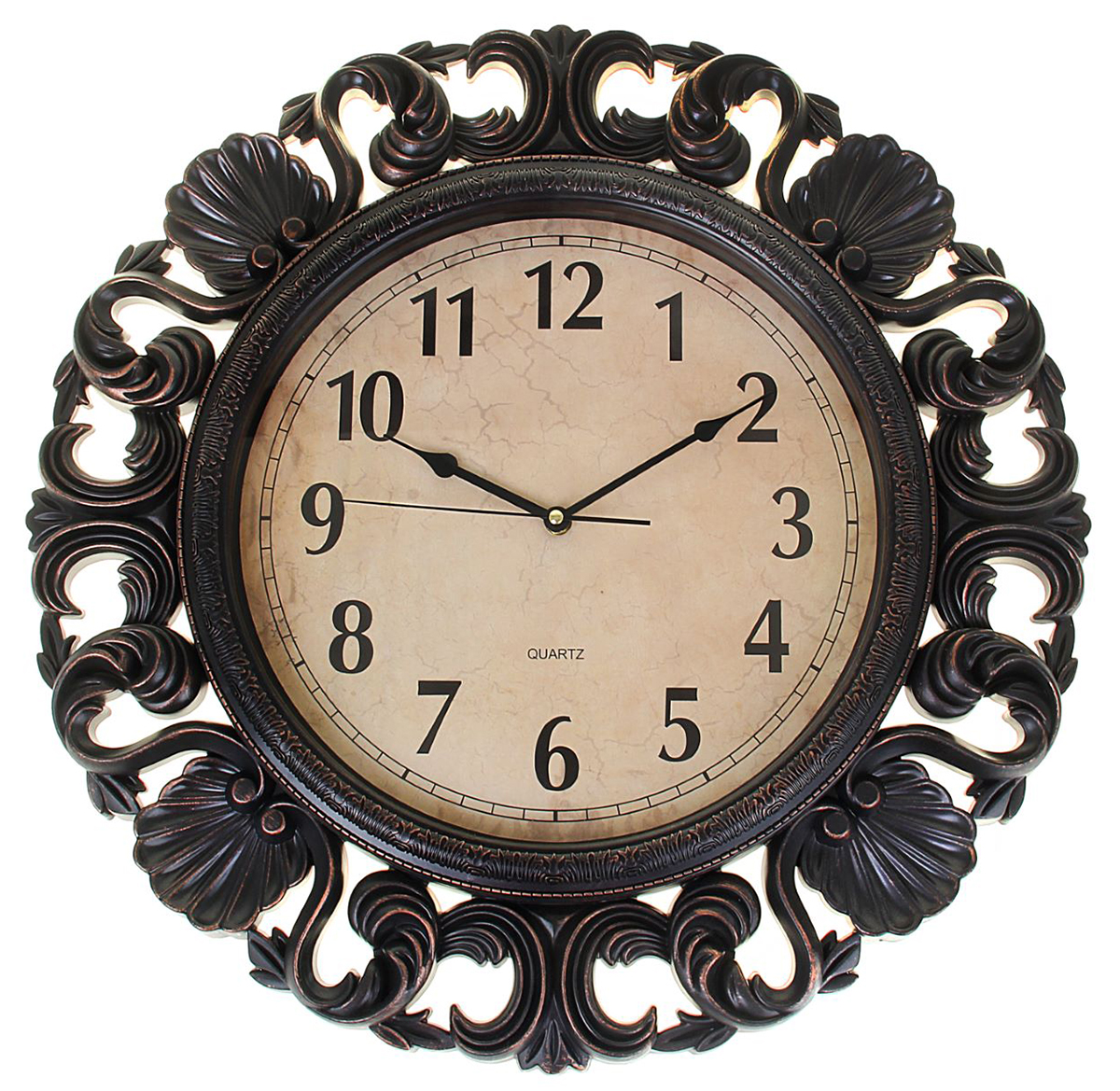 Часы настенные круглые, диаметр 55 см1208429Каждому хозяину периодически приходит мысль обновить свою квартиру, сделать ремонт, перестановку или кардинально поменять внешний вид каждой комнаты. Часы настенные круглые Classic style, d=55 см, под металл, винтажный узор по периметру — привлекательная деталь, которая поможет воплотить вашу интерьерную идею, создать неповторимую атмосферу в вашем доме. Окружите себя приятными мелочами, пусть они радуют глаз и дарят гармонию.Часы интерьерные круглые 55 см, под металл, винтажный узор по периметру 1208429