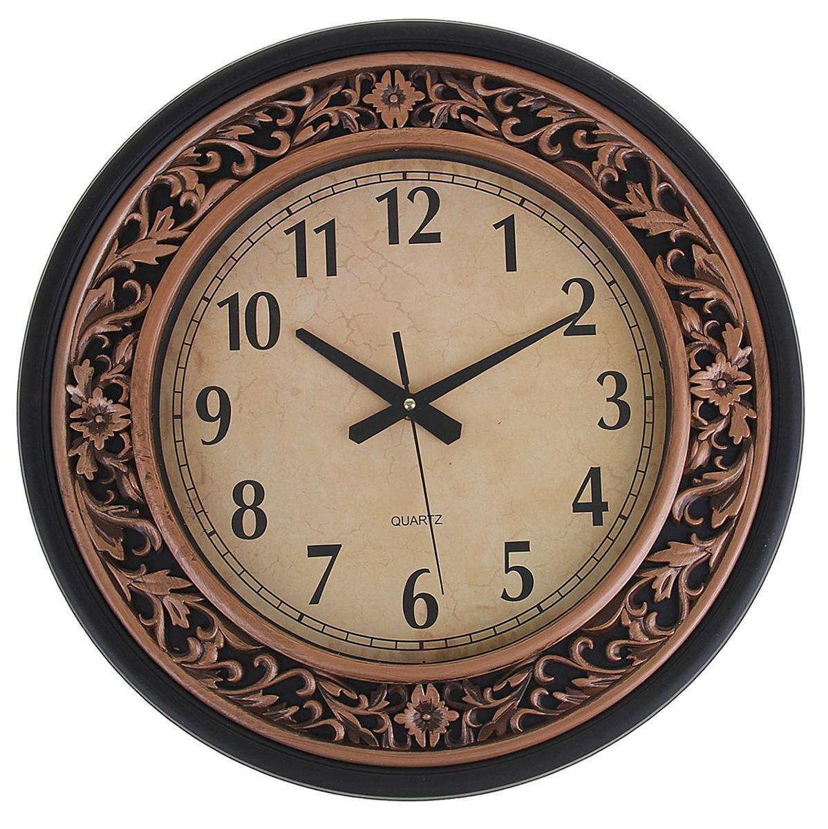 Часы настенные Золото, диаметр 38 см1249681Каждому хозяину периодически приходит мысль обновить свою квартиру, сделать ремонт, перестановку или кардинально поменять внешний вид каждой комнаты. Часы настенные круглые Серия Золото. Классика, d=38 см, рама коричневая, вставки под бронзу — привлекательная деталь, которая поможет воплотить вашу интерьерную идею, создать неповторимую атмосферу в вашем доме. Окружите себя приятными мелочами, пусть они радуют глаз и дарят гармонию.Часы настенные серия Золото, круг, рама коричневая, вставки бронза d=38см 1249681