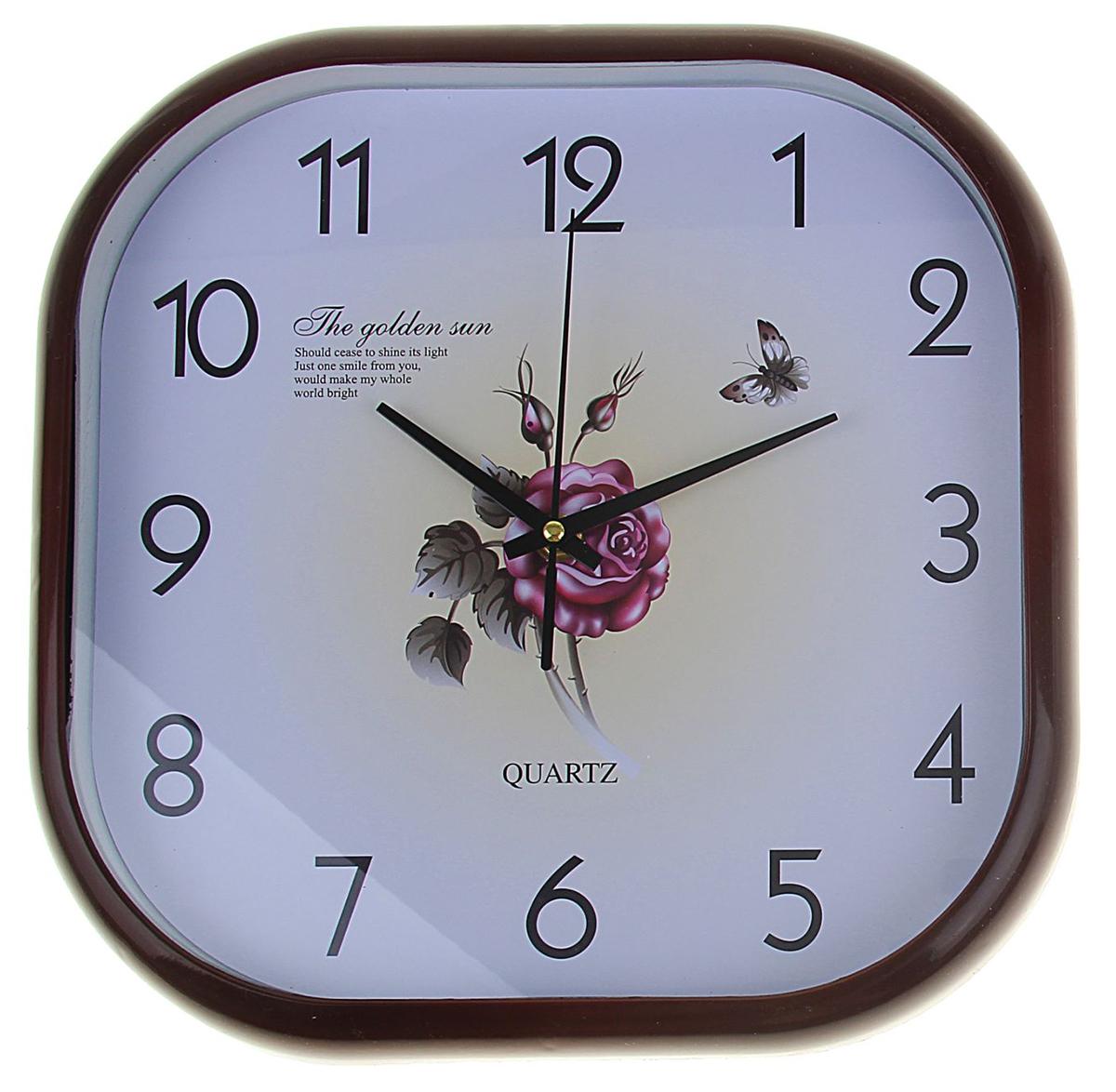 Часы настенные Роза. 12511541251154Каждому хозяину периодически приходит мысль обновить свою квартиру, сделать ремонт, перестановку или кардинально поменять внешний вид каждой комнаты. Часы настенные Бабочка и цветы, квадратные с закругленными углами, 30 ? 30 см, коричневая рама — привлекательная деталь, которая поможет воплотить вашу интерьерную идею, создать неповторимую атмосферу в вашем доме. Окружите себя приятными мелочами, пусть они радуют глаз и дарят гармонию.Часы настенные сюжэетные, квадрат с обтекаемыми углами, Роза, бежевый циферблат, корич обод, 30х30